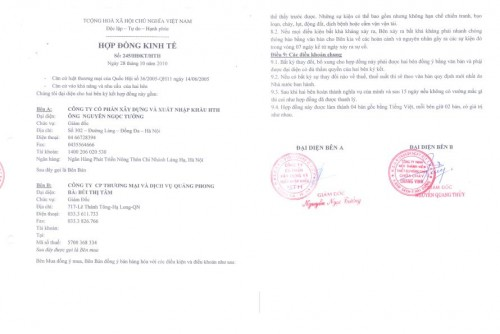 Hợp đồng ký kết thành công với công ty Quảng Phong