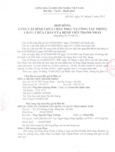 Hợp đồng cung cấp thiết bị PCCC