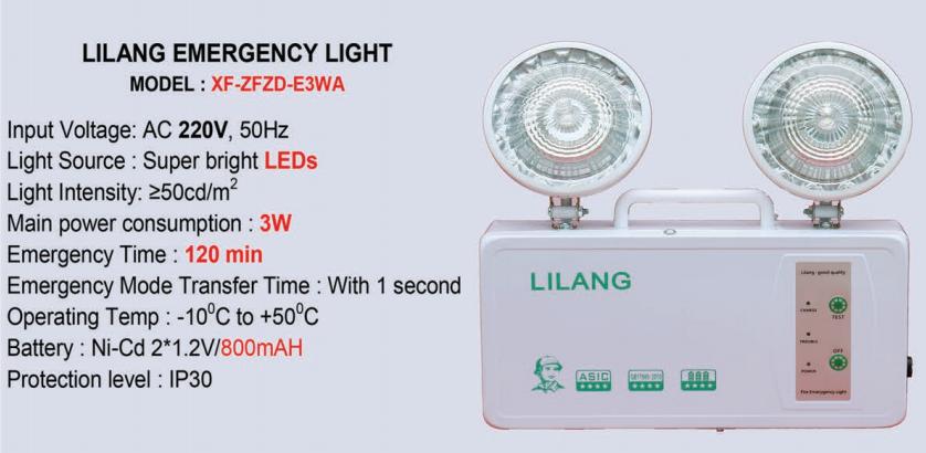 Thông số kỹ thuật Đèn sự cố thoát hiểm khẩn cấp Lilang XF-ZFZD-E3WA