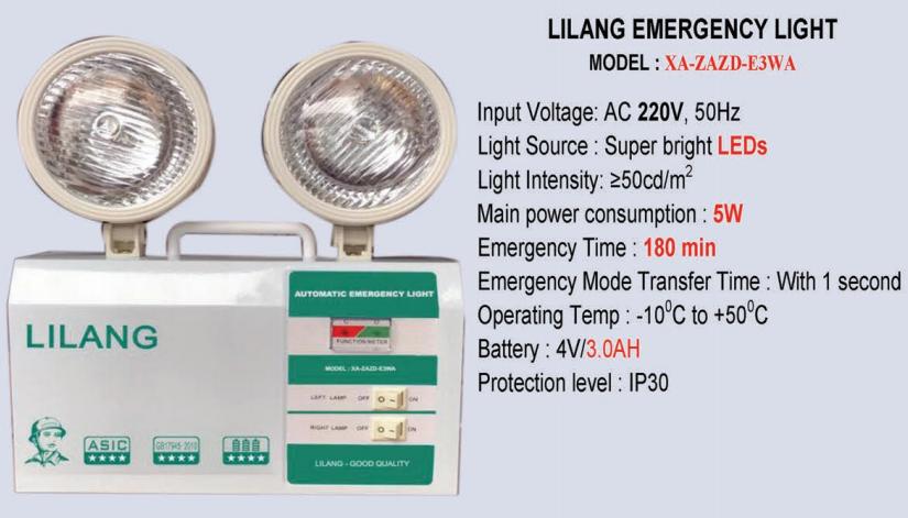 Thông số kỹ thuật Đèn sự cố thoát hiểm khẩn cấp Lilang XA-ZAZD-E3WA cao cấp
