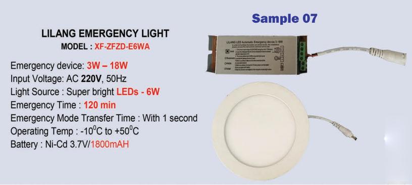 Thông số kỹ thuật Đèn sự cố âm trần Lilang XF-ZFZD-E6WA chính hãng giá rẻ