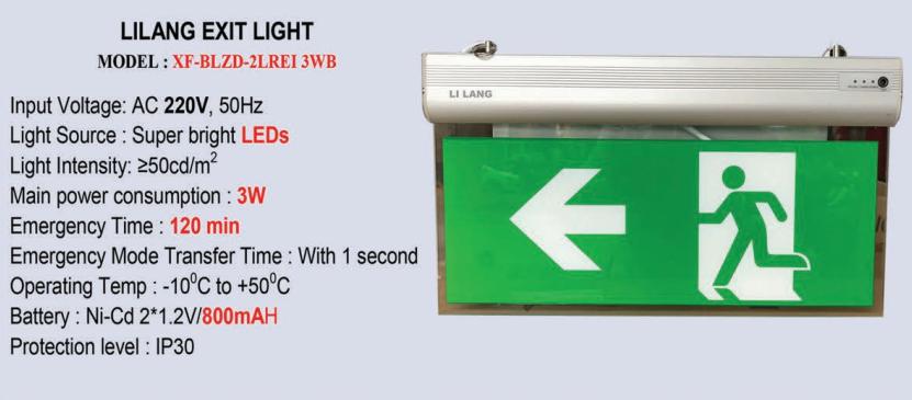 Thông số kỹ thuật Đèn Exit kính trong Lilang 2 mặt có chỉ hướng XF-BLZD-2LREI 3WB
