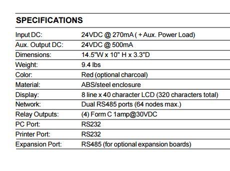 Thông số kỹ thuật Bộ hiển thị phụ Hochiki LCD FireNET chính hãng