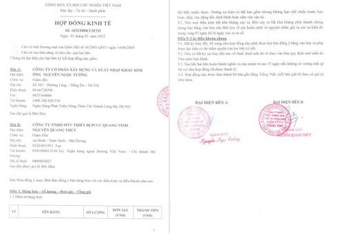 Hợp đồng ký kết thành công với công ty PCCC Quang Vinh