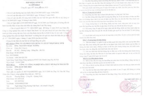 Hợp đồng ký kết thành công với công ty mỏ hóa chất Bạch Thái Bưởi