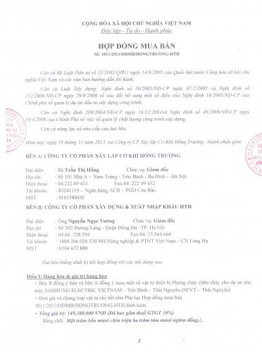 Hợp đồng cung cấp thiết bị PCCC cho nhà máy Sam Sung