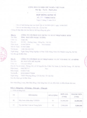 Hợp đồng đã được ký kết với công ty An Bình